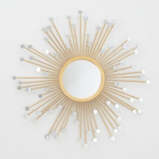 Brinley Mirrored Sunburst Round Wall Mirror - Gold