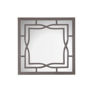 Alicia Square Wall Mirror with Decorative Metal Frame - Gun Metal