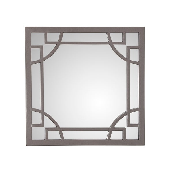 Velma Square Wall Mirror with Decorative Metal Frame - Gun Metal