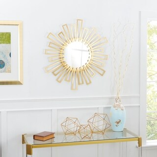 Helen Geometric Sunburst Round Wall Mirror - Gold