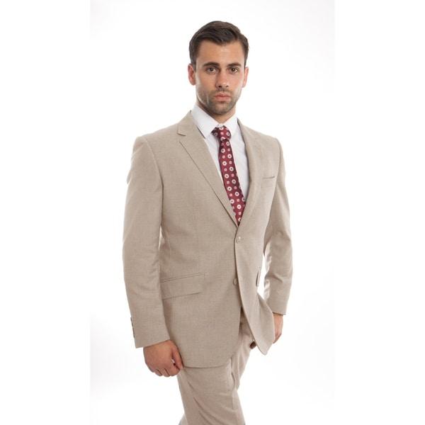 Men's Wool Suit Modern Fit Notch Lapel Slanted Pocket Suit