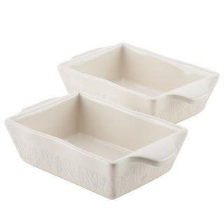Ayesha Curry Home Collection Stoneware Au Gratin Set, 12-Ounce, French Vanilla, 2-Piece