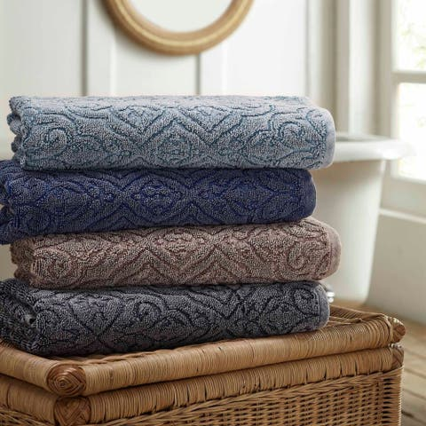 Modern Threads 2-Pack Denim Washed Fleur Lattice Bath Towel Set