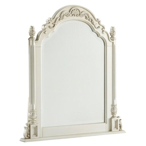 Gracewood Hollow Bhatt Pearl and Silvertone Beveled Vanity Mirror