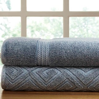 Amrapur Overseas 2-Pack Denim Washed Deco Diamond Bath Towel Set