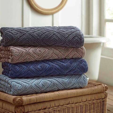 Amrapur Overseas 2-Pack Denim Washed Deco Diamond Bath Towel Set