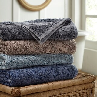 Amrapur Overseas 2-Pack Denim Washed Filigree Leaf Bath Towel Set