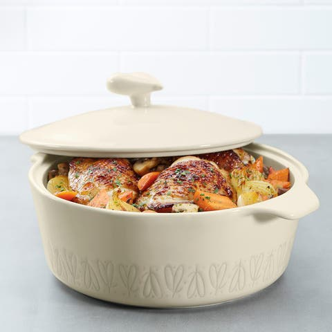 Ayesha Curry Home Collection Stoneware Round Casserole, 2.5-Quart