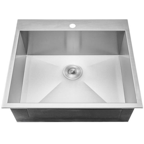 """25/"""" x 22/"""" x 9/"""" Under Mount Single Basin Stainless Kitchen Sink w// Dish Grid"""