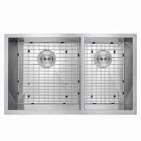 "AKDY KS0086 33"" x 22"" x 9"" Handmade Under Mount Dual Basin 60/40 Stainless Steel Kitchen Sink Dish Grid w/ Drain Kit"