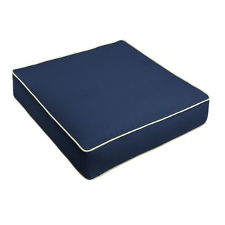 Link to Sunbrella Canvas Navy, Canvas Natural Corded Indoor/ Outdoor Chair Cushion (As Is Item) Similar Items in As Is