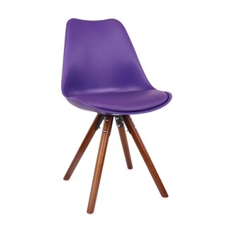 Viborg Purple Mid Century Side Chair Walnut Base (Set of 2)