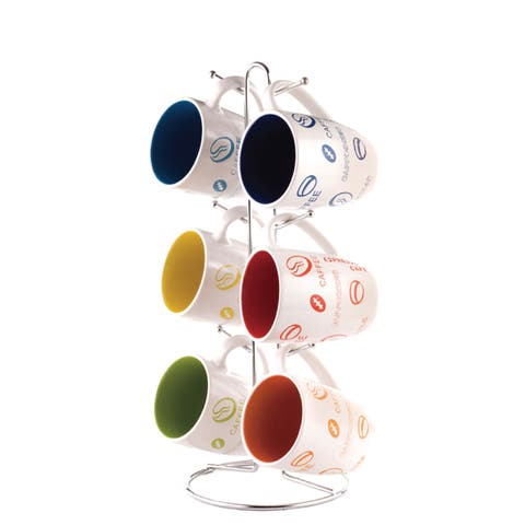 Home Basics Multicolor 6-piece Stoneware Mug Set and Metal Stand