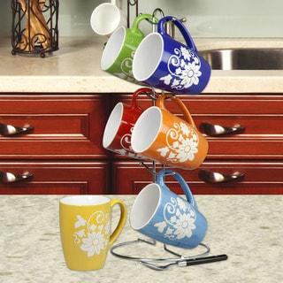 Home Basics Multicolor 6-piece Stoneware Floral Mug Set and Stand