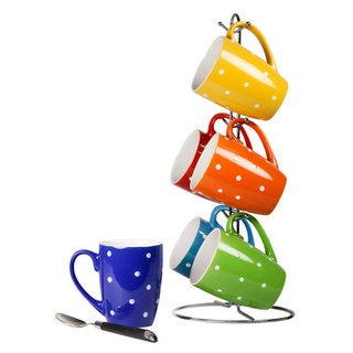 Home Basics Multicolor 6-piece Stoneware Mug Set and Stand