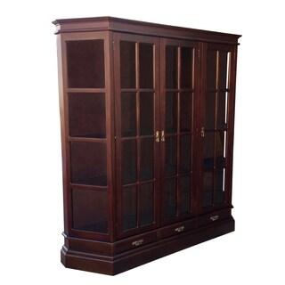 Handmade Profile Brown Mahogany Wood 3-Door Glass Cabinet (Indonesia)
