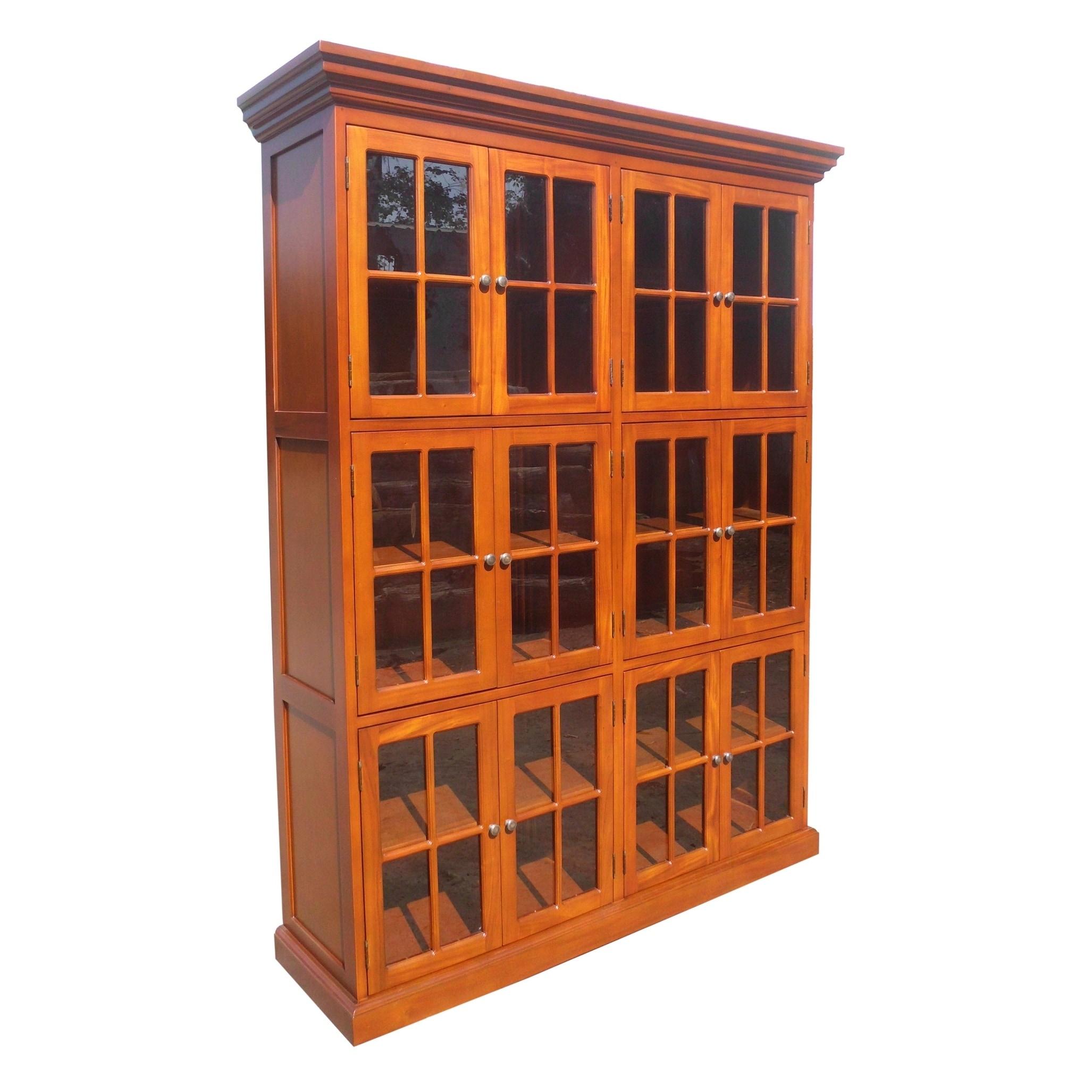 Handmade Mahogany Wood 12 Door Library Bookcase Indonesia