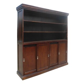 Prime Mahogany Wood Silding 4-door Bookcase Cabinet