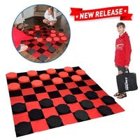 EasyGo Giant Checkers Game - 5' X 5' Indoor Outdoor - Family Game - Lawn Game