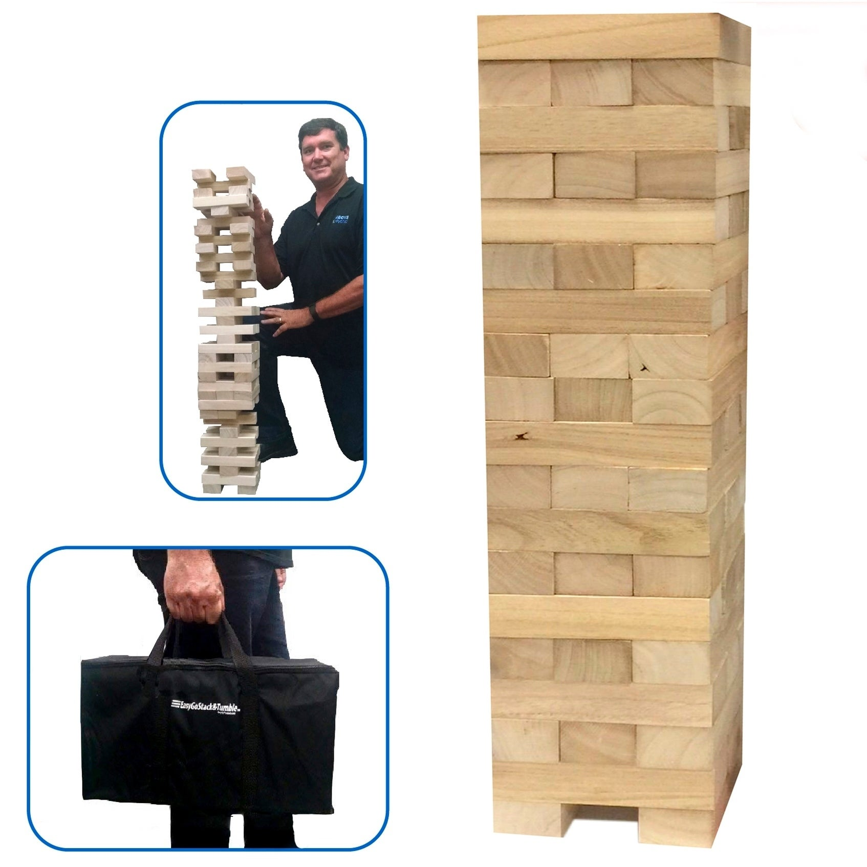 EasyGo Large Stack & Tumble Giant Wood Tower Blocks Game