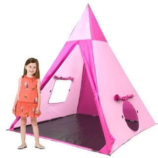 EasyGo Products Outdoor-Indoor Tee Pee Tent - 5 Foot Tall Classic Indian Play Tent for Kids with 4 Sides and Carry Bag