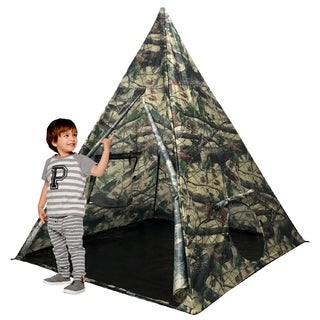 EasyGo Products Outdoor-Indoor Tee Pee Tent - 5 Foot Tall Classic Indian Play Tent for Kids with 4 Sides and Carry Bag -