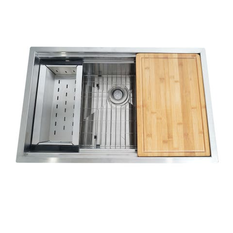 Stainless Steel Under mount Kitchen Sink w/Cutting board & Colander