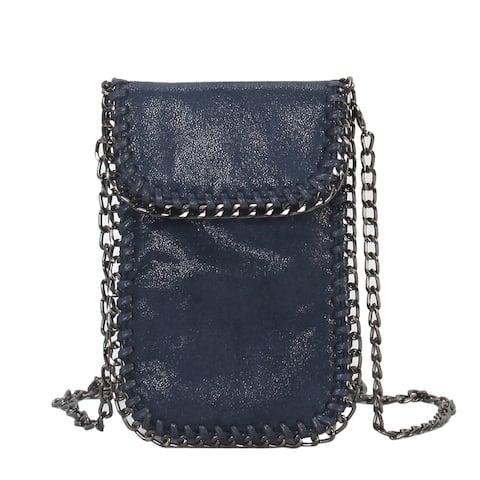 Diophy Metallic PU Leather Chain Decor Mini Crossbody Cell Phone Bag - S