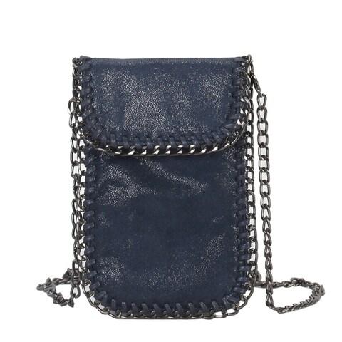 Diophy Metallic PU Leather Chain Décor Mini Crossbody Cell Phone Bag - S