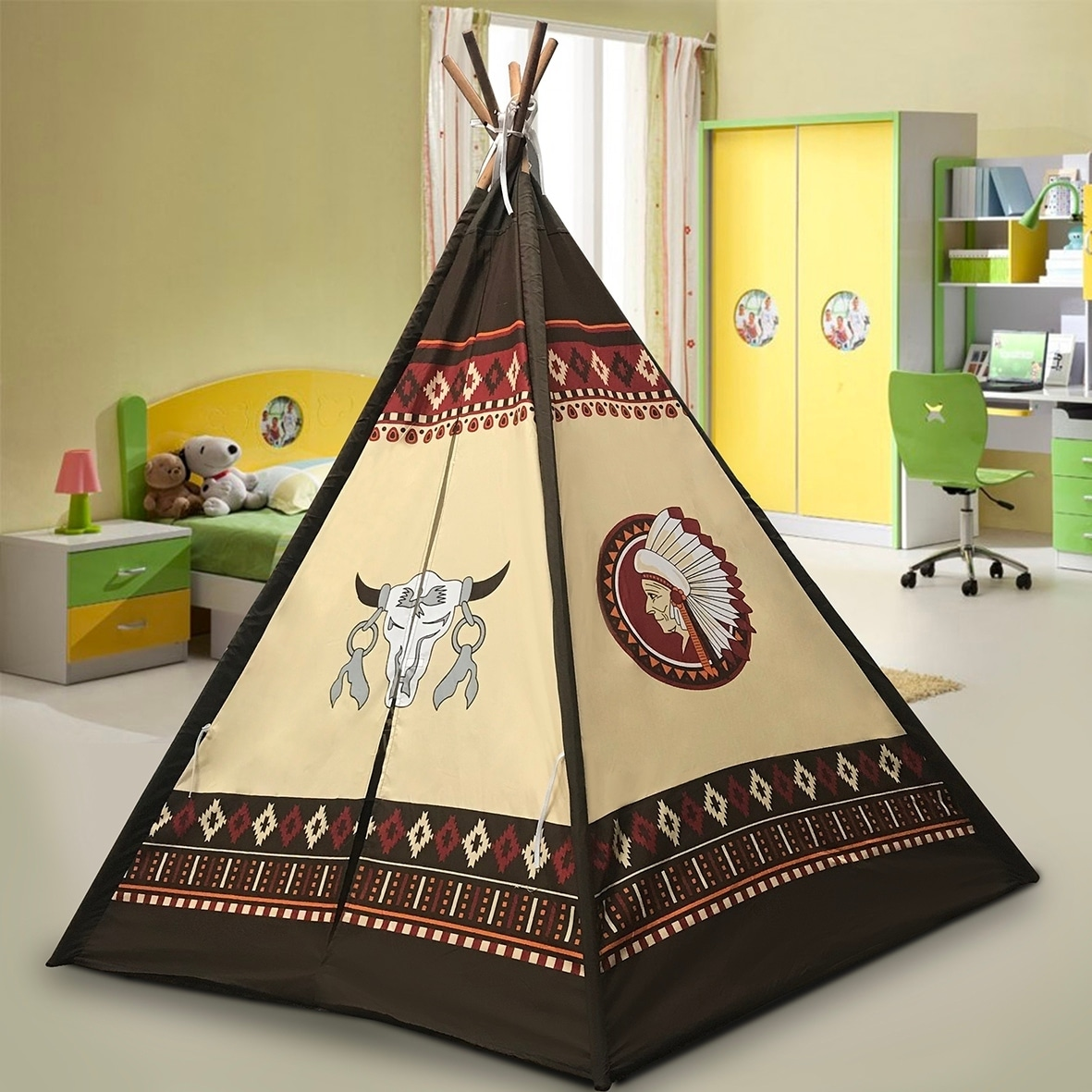 """Indoor TeePee Tent -70"""" Tall Kids Indian Play Tent with 5..."""