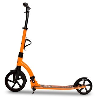 EXOOTER M1850VO 6XL Adult Kick Scooter with Front Shocks and 240mm/180mm Wheels in Vibrant Orange.