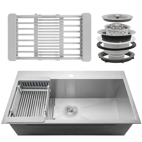 "AKDY KS0097 32"" x 18"" x 9"" Handmade Stainless Steel Top Mount Kitchen Sink Single Basin Tray Strainer Kit - Silver"