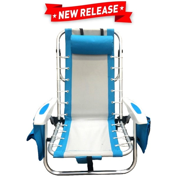 EasyGo Beach Chair Lightweight Backpack Beach Chair (Blue and Grey)