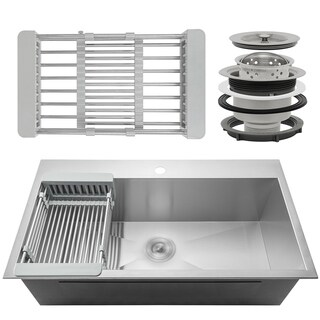 "AKDY KS0098 30"" x 18"" x 9"" Handmade Stainless Steel Top Mount Kitchen Sink Single Basin Tray Strainer Kit - Silver"