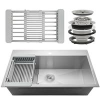 "AKDY KS0098 30"" x 18"" x 9"" Handmade Stainless Steel Top Mount Kitchen Sink Single Basin Tray Strainer Kit - Silver"
