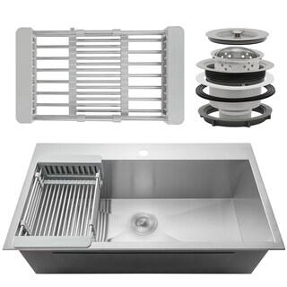 "AKDY KS0098 30"" x 18"" x 9"" Handmade Stainless Steel Top Mount Kitchen Sink Single Basin Tray Strainer Kit"