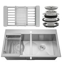 "AKDY KS0100 32"" x 18"" x 9"" Handmade Stainless Steel Top Mount Kitchen Sink Dual Basin Tray Strainer Kit"