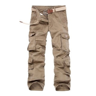 Men's Cargo Pants Mid-waist Full length Overalls with Zipper Closure - M