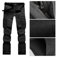 Men's Casual Military Wild Combat Cargo Work Pants with 6 Pockets - M
