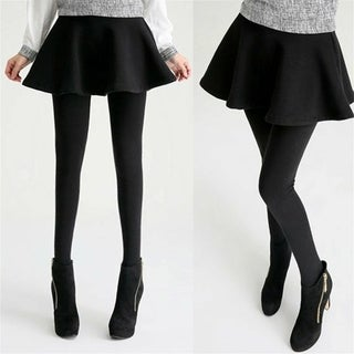 Casual Skirt Leggings Pants with A line Pleated Skirts for Women