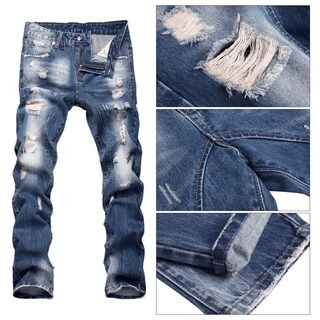 Men's Casual Jeans Military Wild Combat Work Pants with 4 Pockets