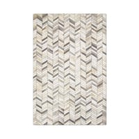 Carbon Loft Montgolfier Hand-stitched Grey Chevron Cowhide Leather Rug