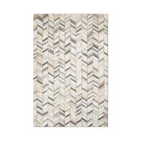 Carbon Loft Montgolfier Hand-stitched Grey Chevron Cowhide Leather Rug - 5' x 8'