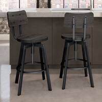 Carbon Loft Kettering Screw Metal and Wood Upholstered Stool