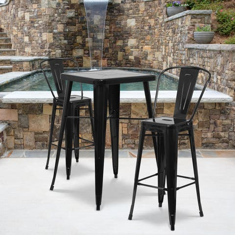 Carbon Loft Fowler Metal Indoor-Outdoor Bar Table Set with 2 Barstools