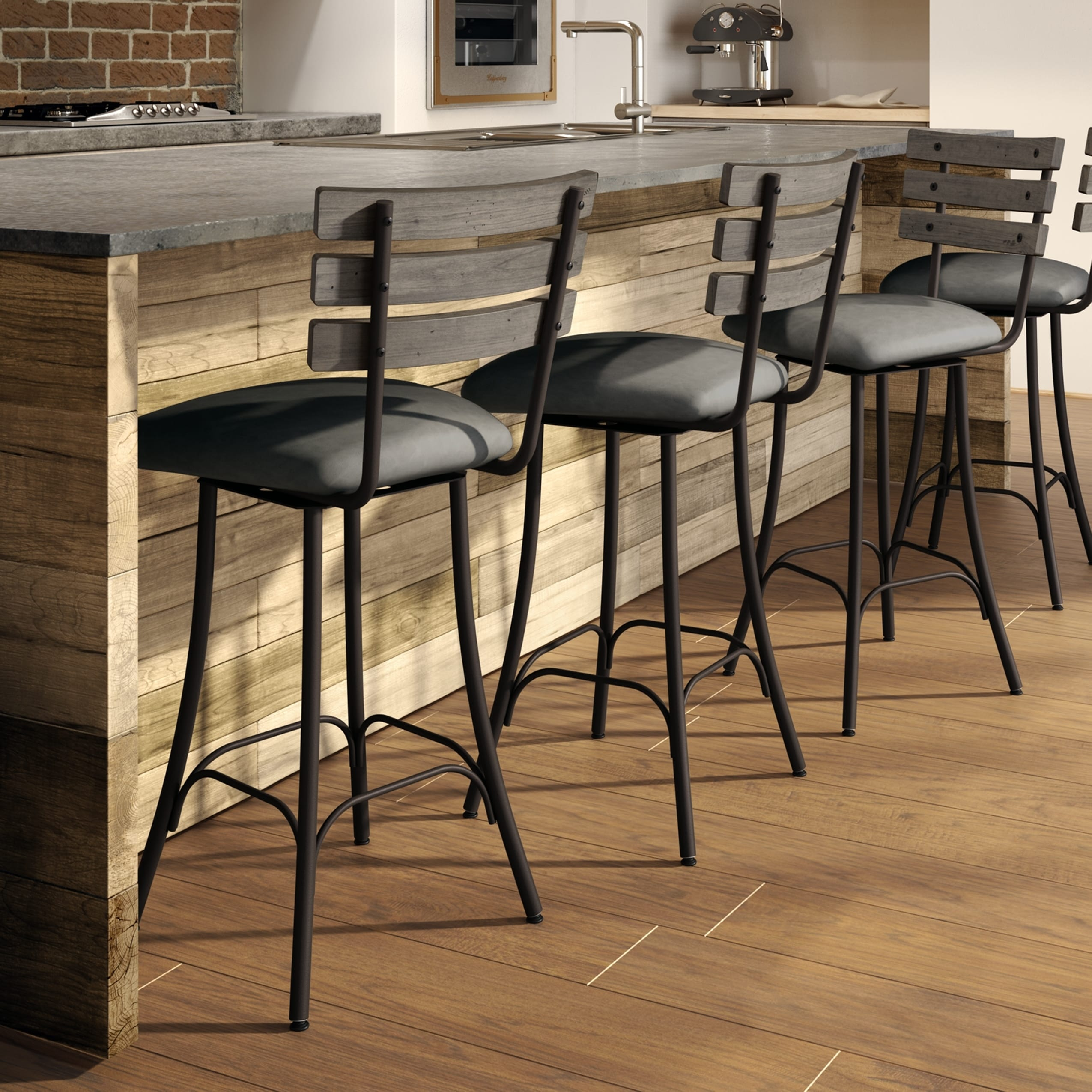 Swell Carbon Loft Kettering Swivel Metal And Wood Counter Stool Pabps2019 Chair Design Images Pabps2019Com
