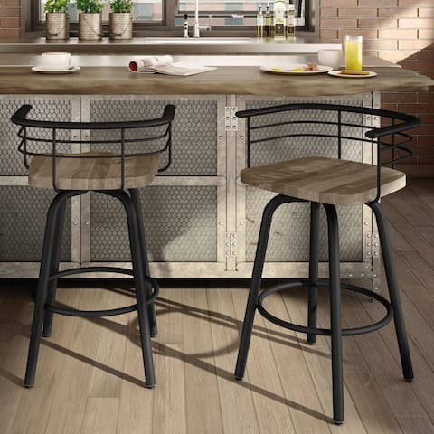 Carbon Loft Cantrell Swivel Metal Barstool With Distressed Wood Seat