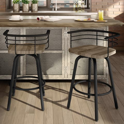 Carbon Loft Cantrell Swivel Metal Counter Stool with Distressed Wood Seat