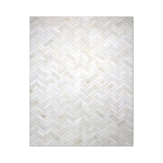 "Carbon Loft Montgolfier Hand-stitched Chevron Cowhide Leather Rug - 4'10"" x 7'10"""