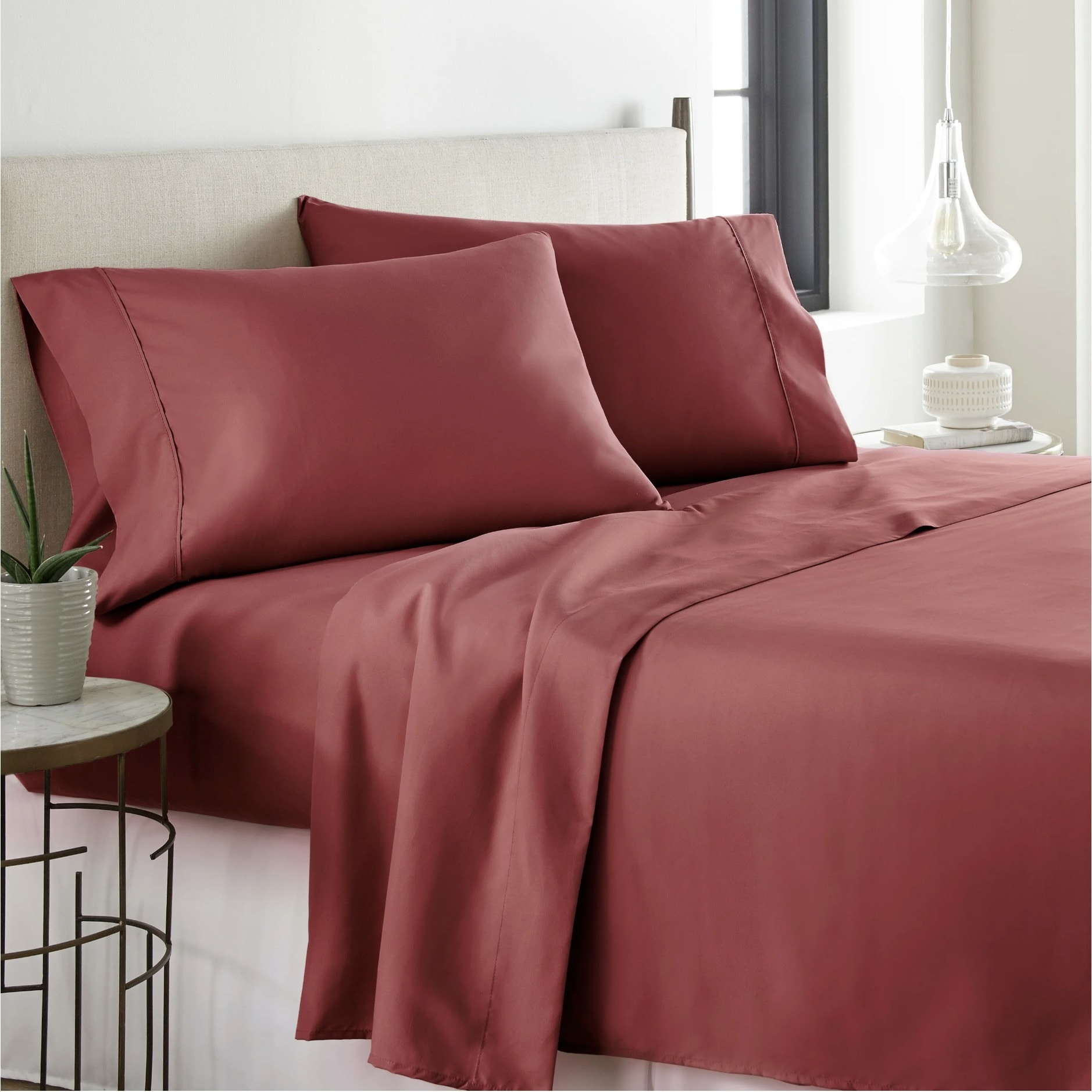 Wrinkle Fade Resistant Deep Sleep Home 4pc Bed Sheet Set Hypoallergenic Sheet Pillow Case Set Hotel Collection Queen, Pink Solid Color Deep Pockets